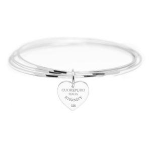 Amore Eterno - Bracciale 3 cerchi rigidi cuore 1,5 cm