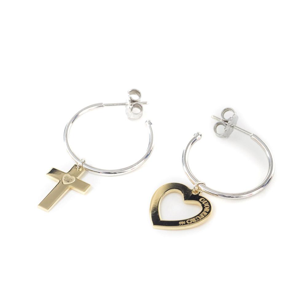 up-to-date styling in vendita grandi affari Abbracci - Today:Spiritual - orecchini cerchio argento dorato cuore e  crocifisso