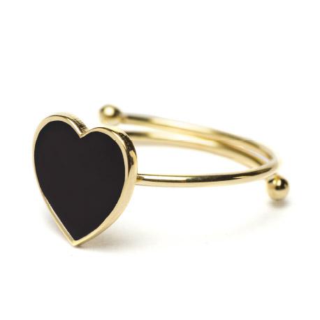 Abbracci Love 2019 - Anello aperto dorato cuore 1 cm smalto nero