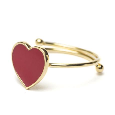 Abbracci Love 2019 - Anello aperto dorato cuore 1 cm smalto rosso