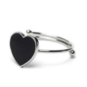 Abbracci Love 2019 - Anello aperto argento cuore 1 cm smalto nero