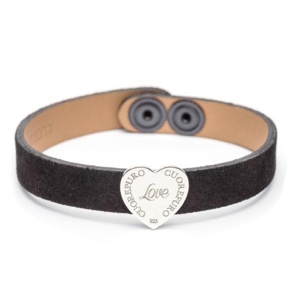 Abbracci Love 2019 - Bracciale camoscio nero cuore 1,5 cm argento