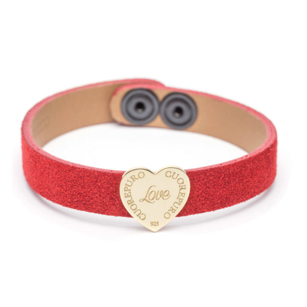 Abbracci Love 2019 - Bracciale camoscio rosso cuore 1,5 cm dorato