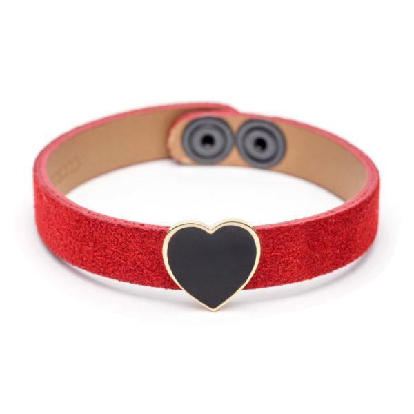 Abbracci Love 2019 - Bracciale camoscio rosso cuore 1,5 cm smalto nero
