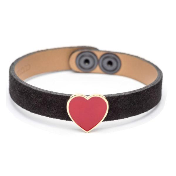 Abbracci Love 2019 - Bracciale camoscio nero cuore 1,5 cm smalto rosso