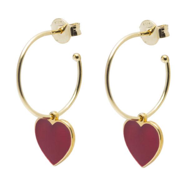 Abbracci Love 2019 - Orecchini cerchio cuore 1,5 cm dorato smalto rosso