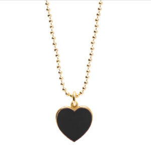 Abbracci Love 2019 - Collana cuore 1 cm dorato smalto nero