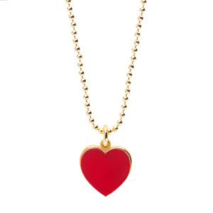 Abbracci Love 2019 - Collana cuore 1 cm dorato smalto rosso