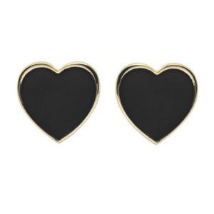 Abbracci Love 2019 - Orecchini lobo cuore 1cm dorato smalto nero