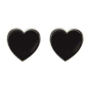 Orecchini lobo cuore argento e smalto nero