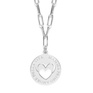 """Life - Girocollo piastra 1,5 cm argento """"Mamma primo amore della vita"""""""