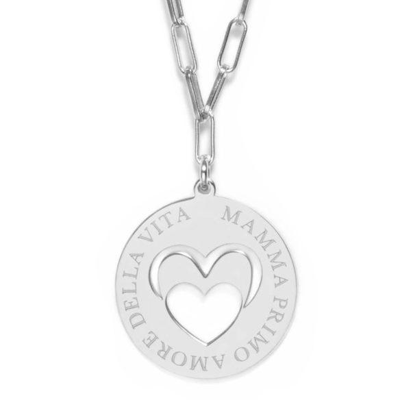 """Life - Girocollo piastra 2 cm argento """"Mamma primo amore della vita"""""""